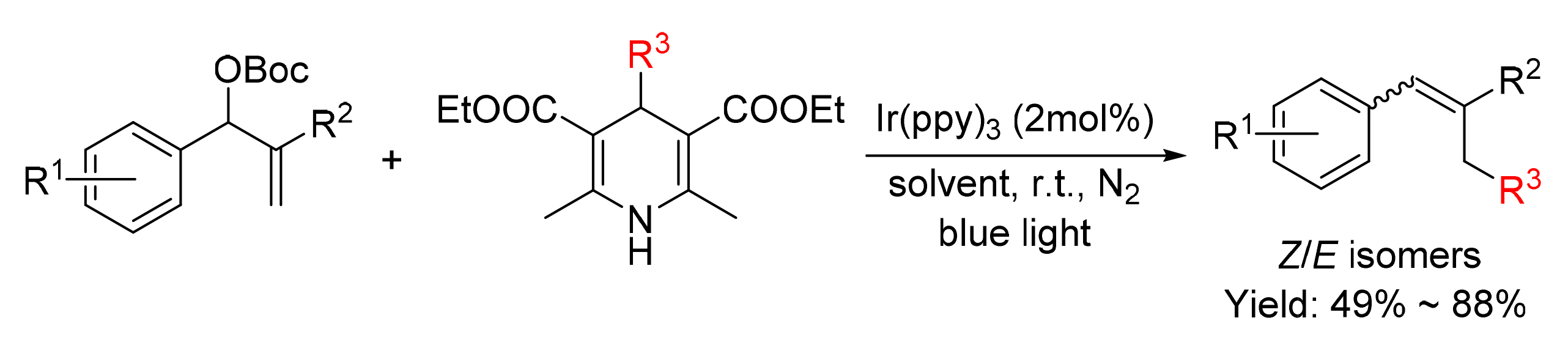 The coupling of Hantzsch esters with Baylis-Hillman derivatives via visible-light photoredox catalysis