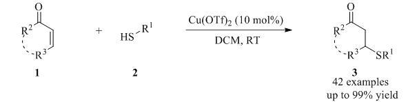Cu (OTf)<sub>2</sub> catalyzed Conjugate Addition of mercaptans to enones