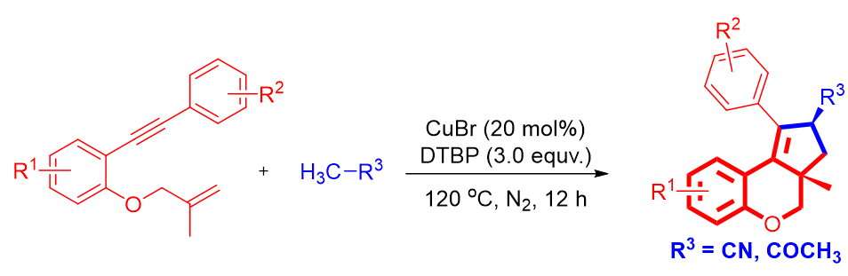 乙腈(丙酮)α-C嵌入合成2-取代环戊烯并[c]色烯衍生物