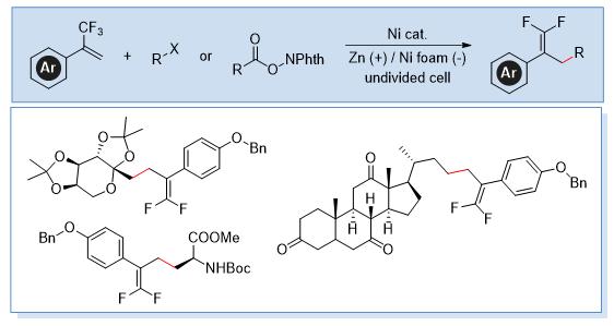 镍促进电化学还原交叉偶联合成偕二氟烯烃
